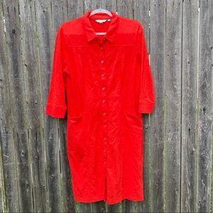 Boden   Red Button 3/4 Sleeve Shirt Dress Pockets